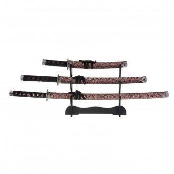 Сувенирное изделие набор меч катана 3в1 кожа питона коричневая 39х7,2х32,5