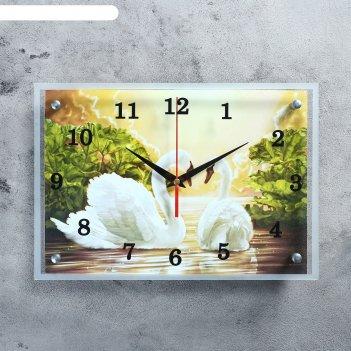 Часы настенные прямоугольные лебеди, 25х35 см