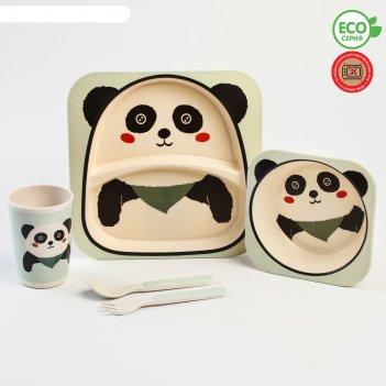 Набор бамбуковой посуды «панда», 5 предметов: тарелка, миска, стакан, вилк