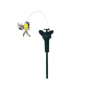 Декор садовый на солнечной/пальчиковой батарее 38см порхающая птичка микс