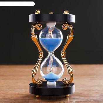 Часы песочные,витые золотые ножки 3шт,. 5 минут, микс 13,5см