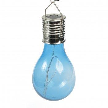 Фонарь садовый на солнечной батарее лампочка синяя, 4 led, пластик, на при