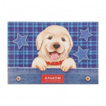 Альбом для рисования а4, 16 листов на скрепке собаки, обложка мелованный к