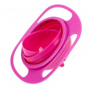 Детская миска «тарелка-неваляшка», цвет розовый