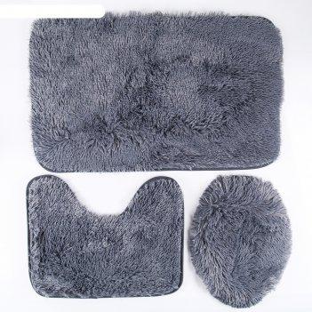 Набор ковриков для ванной и туалета плюшевый 3 шт, цвет серый