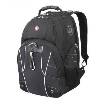 Рюкзак wenger, чёрный/серебристый, полиэстер 900d/600d/искуственная кожа,