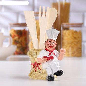 Подставка для кухонных принадлежностей «повар с бочкой», цвет микс