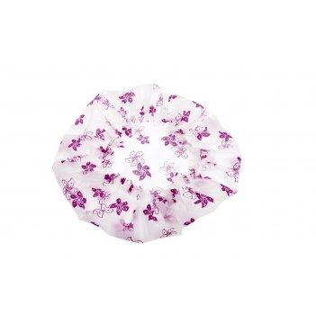 Шапочка dewal beauty для душа без кружева, белая с фиолетовыми  цветами