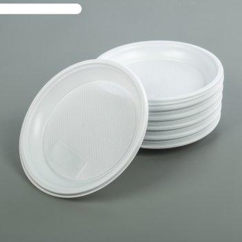 Набор тарелок десертных одноразовых 170 мм, 100 шт., белый