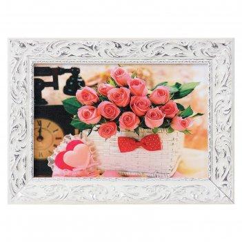 Картина розы в корзине 27х37см
