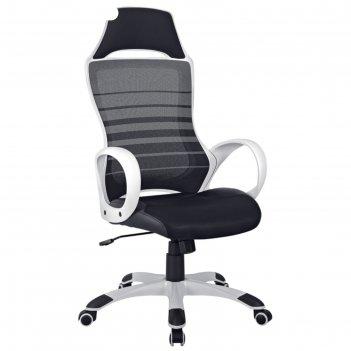 Кресло руководителя helmi hl-s05 podium, ткань/сетка/экокожа черная, пласт