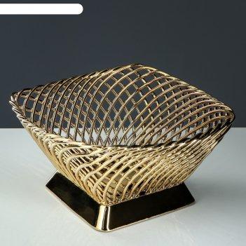 Конфетница плетенка квадрат, золото