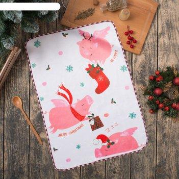 Полотенце микрофибра доляна счастливого рождества, 40х60 см, п/э 200 гр/м2