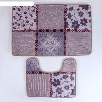 Набор ковриков для ванной и туалета 2 шт 50х80 см, 49х50 см коллаж, цвет с