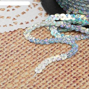 Лента декоративная с пайетками, голография, 6 мм, 91 ± 1 м, цвет серебряны