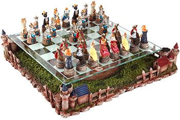 Шахматы полистоун кошки против собак на тематической доске 42*42*10
