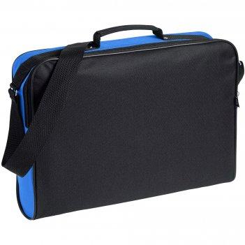 Сумка для документов unit metier, черная с синей отделкой
