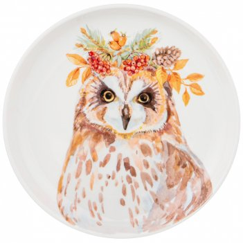 Тарелка закусочная лесная сказка сова, 19см (кор=24шт.)