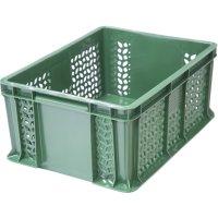 Ящик универсальный, перфорированный, дно сплошное 400х300х180 зеленый