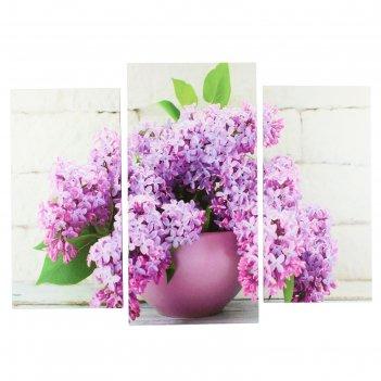Модульная картина сирень в вазе (2-25х50, 30х60 см) 60х80 см