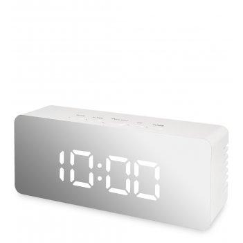 Ял-07-23/7 часы электронные мал. зеркальные (белые с белым циферблатом)