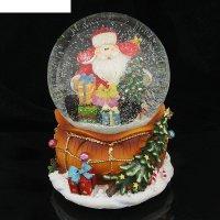 Сувенир снежный шар дед мороз в шапке-ушанке музык., механич.