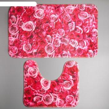 Набор ковриков для ванны и туалета 2 шт 40х45, 45х75 см розы
