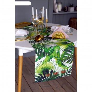 Дорожка на стол со стразами тропический рай 40х146 см, 100% хл, саржа 190