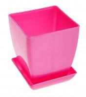 Горшок для цветов перламутр 130x130 мм, поддон, розовый