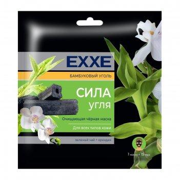 Тканевая очищающая черная маска для лица exxe сила угля, 1 шт