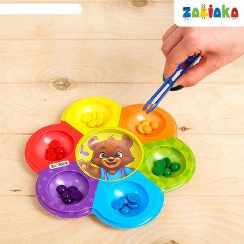 Zabiaka сортер на 6 цветов мишкины конфетки с пинцетом