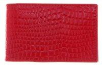 Кредитница, 1 ряд, 16 карманов, красный крокодил