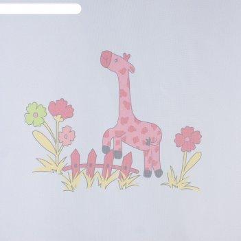 Тюль этель 135х270 см весёлые жирафы (фиолетовый) без утяжелителя, 100% п/