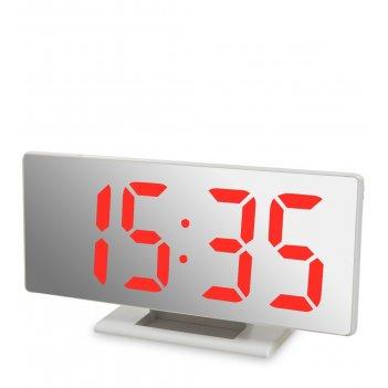 Ял-07-04/1 часы электронные зеркальные (белое дерево с красной подсветкой)
