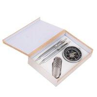 Набор подарочный 4в1 в деревянной коробке: 2 ручки, брелок-компас, нож 3в1