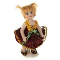 Кукла коллекционная малышка кристина в бордовом платье