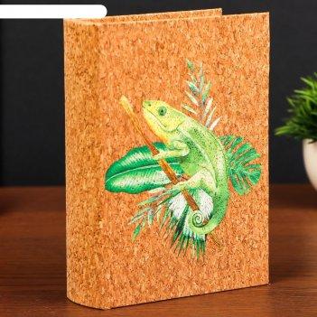 Шкатулка-книга дерево кожзам под пробку хамелеон 18х13х4 см