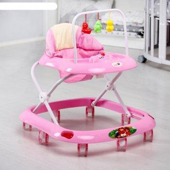 Ходунки «маленький водитель с», 8 силиконовых колес, муз., игр., розовый
