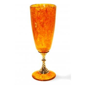 Бокал для шампанского из янтаря (на 2 персоны)