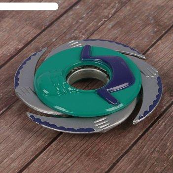 Спиннер дай пять, фиолетовый+зеленый, 4 лезвия, 11*11 см