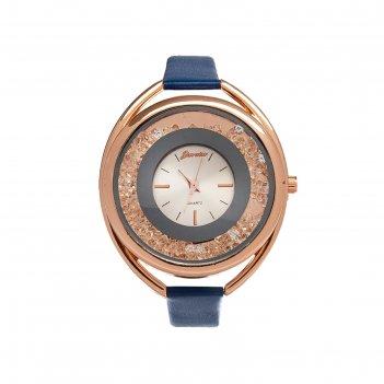 Часы наручные женские кравьери, циферблат d=3.8 см, синий  микс