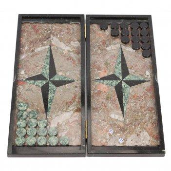 "Нарды ""звезда"" большие креноид змеевик 510х440х20 мм"