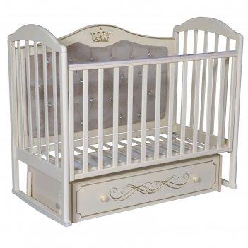 Кроватка «кедр» emily-4, универсальный маятник, ящик, цвет слоновая кость