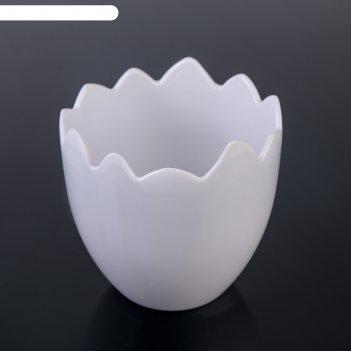 Кашпо 10x9,5 см скорлупа, цвет белый