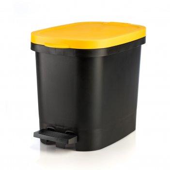 Мусорный бак с педалью be-util 10л, черный-желтый