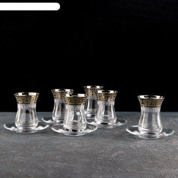 Сервиз чайный «нэро», 12 предметов: стакан чайный 140 мл, блюдце 12 см