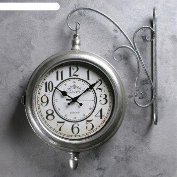 Двойные настенные часы, купол внизу, d=24см, цвет состаренное серебро, 45*