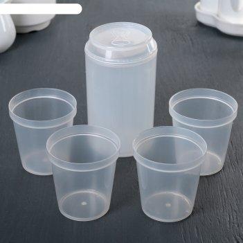 Набор стаканов банка, 4 шт. в контейнере, белый