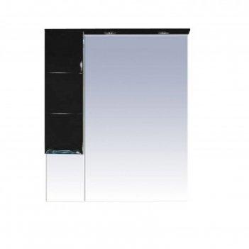 Шкаф-зеркало misty петра 75, левый, с подсветкой, черная эмаль