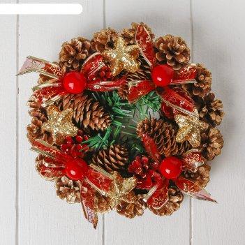 Венок новогодний d-23 см ягодки шишки